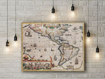 Jodocus Hondius: Map of the America. Fine Art Canvas.